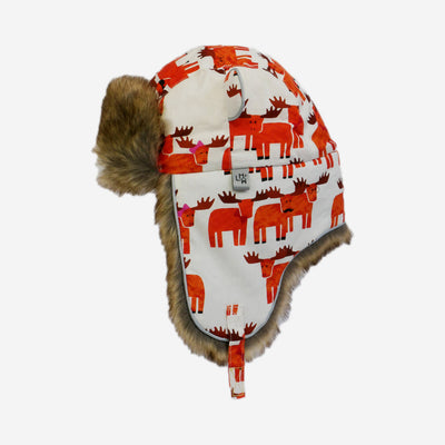 moose print brown fur trapper kids hat from Little Hotdog Watson