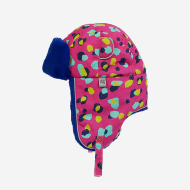 spot print blue fur trapper kids hat from Little Hotdog Watson