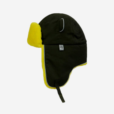 khaki yellow fur trapper kids hat from Little Hotdog Watson
