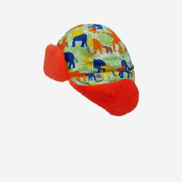 elephant print red fur trapper adults hat from Little Hotdog Watson