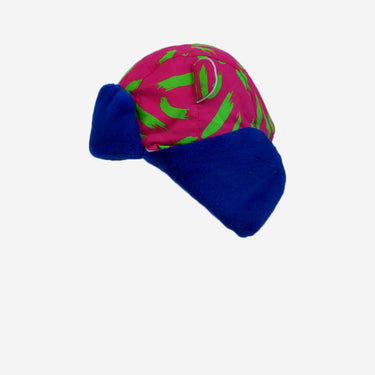 tiger print blue fur trapper kids hat from Little Hotdog Watson