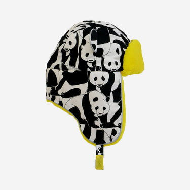 panda print yellow fur trapper kids hat from Little Hotdog Watson