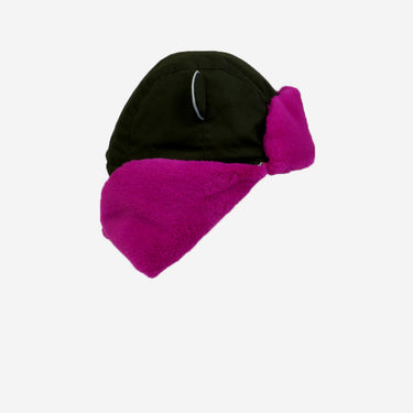 flat lay of khaki pink kid's arctic cub hat for winter