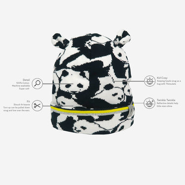 a technology diagram from kids panda print winter hat