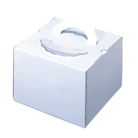 "10 x 10 x 6-1/8"" White Cake Box with Handle (155TD7)"
