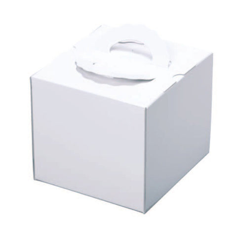 "11-1/8 x 11-1/8 x 7-7/8"" White Cake Box with Handle (200TD8)"