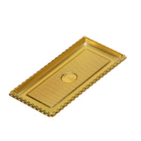 "3-3/8 x 7-1/4 x 4-3/8"" Roll Cake Gold Tray (GP6)"