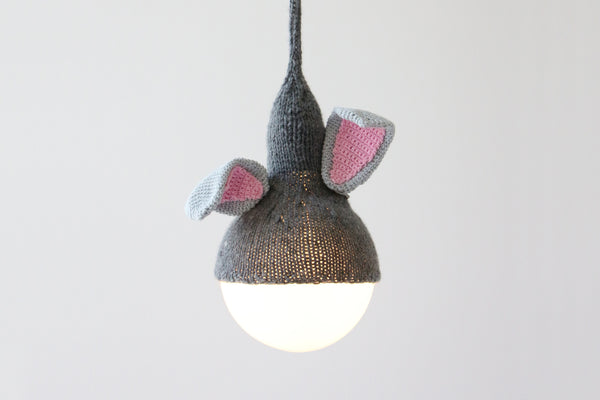 Rabbit Pendant Light, Children's Bedroom Lighting, Handmade, Knitted, Home, Luna Lana