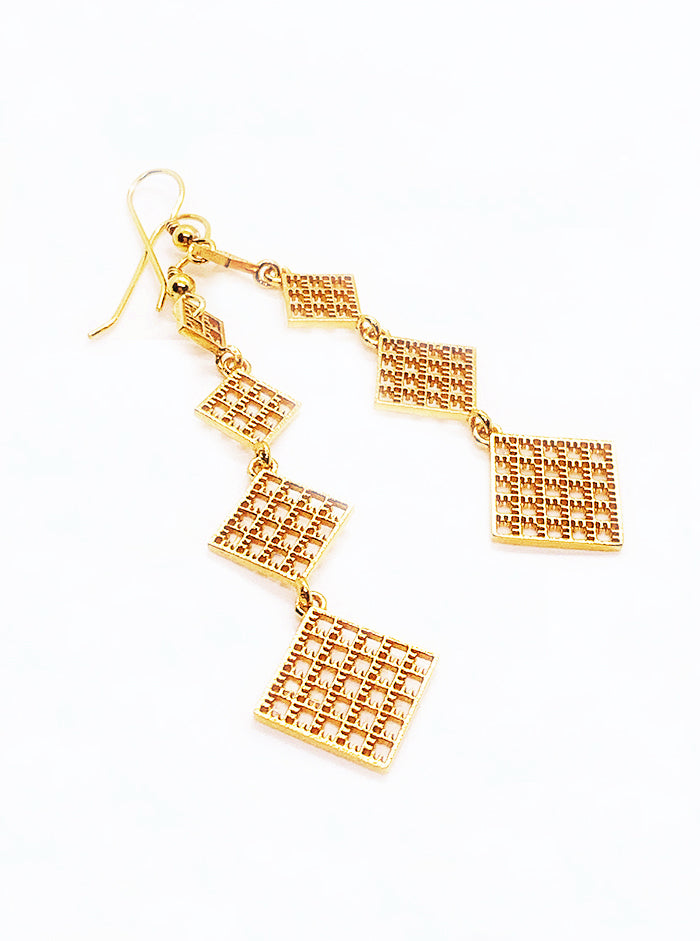 3D Printed Silver + Gold Plated Earrings VERY LONG *P