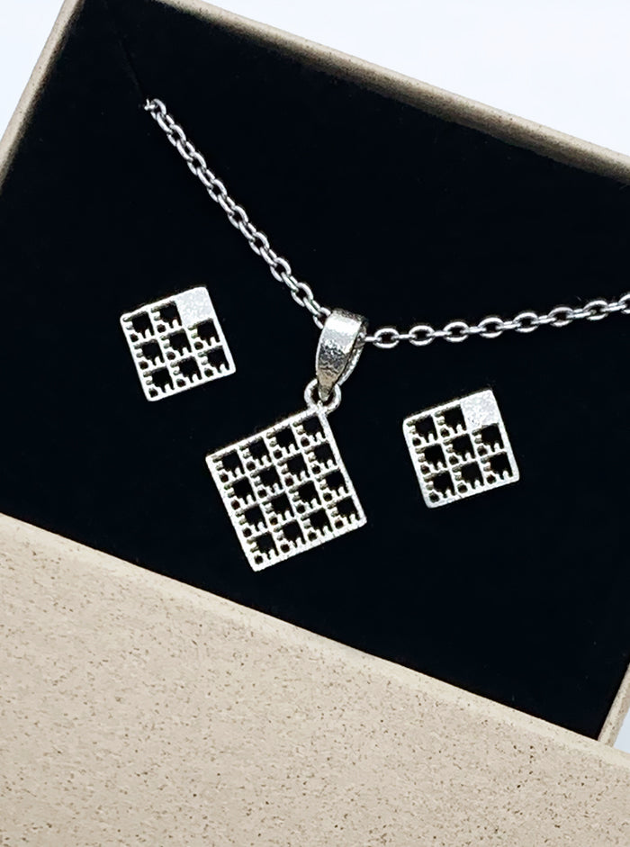 3D Printed Silver Earrings & Pendant NETS SET *P