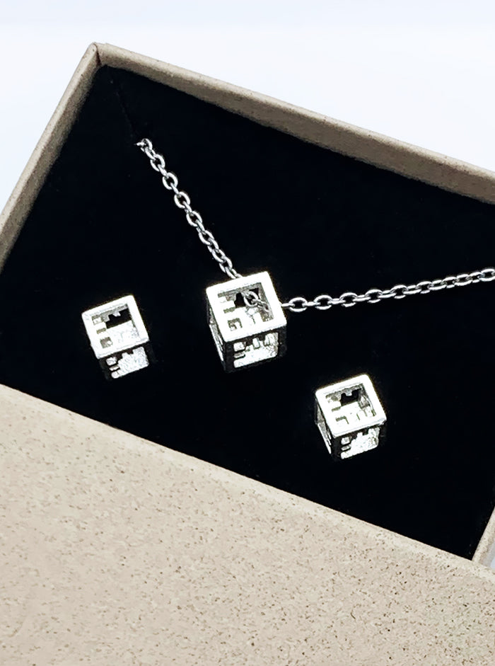 3D Printed Silver Earrings & Pendant AIRY CUBES SET *P