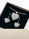 3D Printed Silver Earrings & Pendant GOOD HEART SET *P