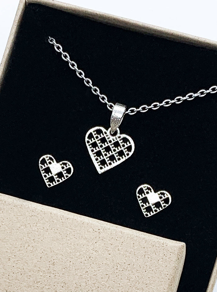 3D Printed Silver Earrings & Pendant HEARTS SET *P
