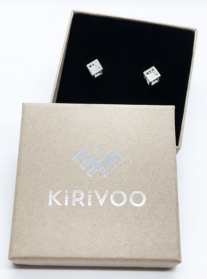3D Printed Silver Earrings AIRY CUBE