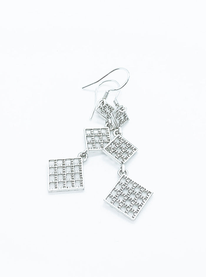 3D Printed Silver Earrings LONG *P