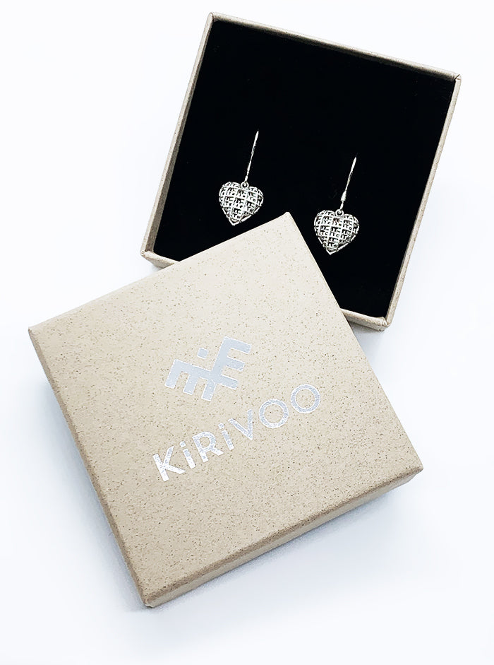 3D Printed Silver Earrings MYHEART