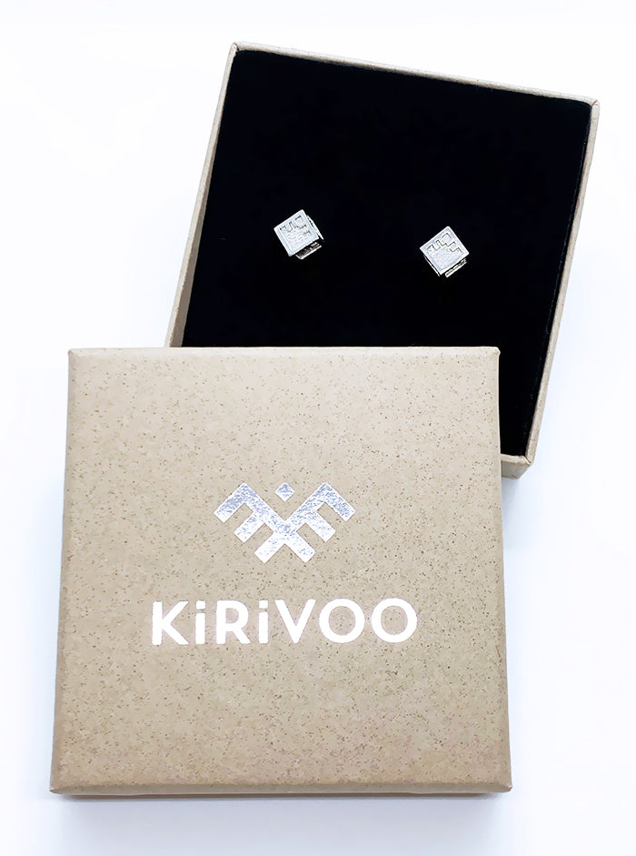 3D Printed Silver Earrings CUBE