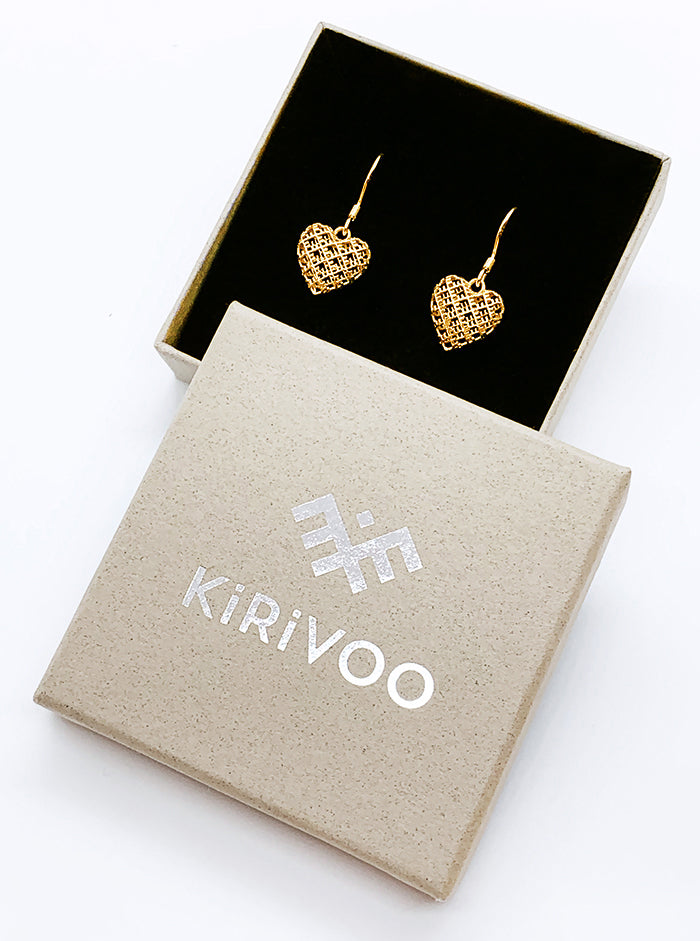 3D Printed Silver + Gold Plated Earrings GOOD HEART