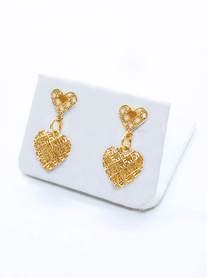 3D Printed Silver + Gold Plated Earrings 2HEARTS