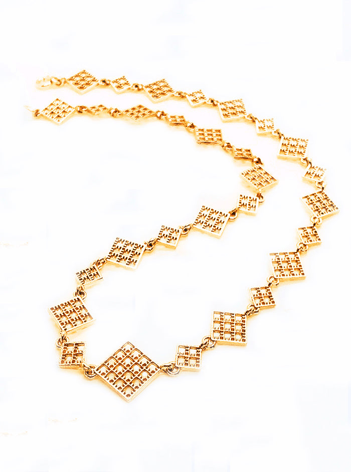 3D Printed Silver + Gold Plated Necklace NET *P
