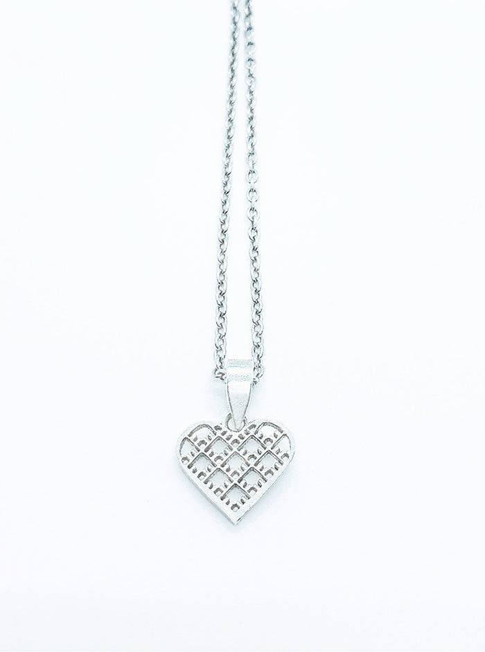 3D Printed Silver Pendant HEART *P