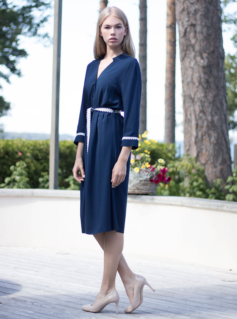 Navy Blue Bamboo Shirt Dress SORGO
