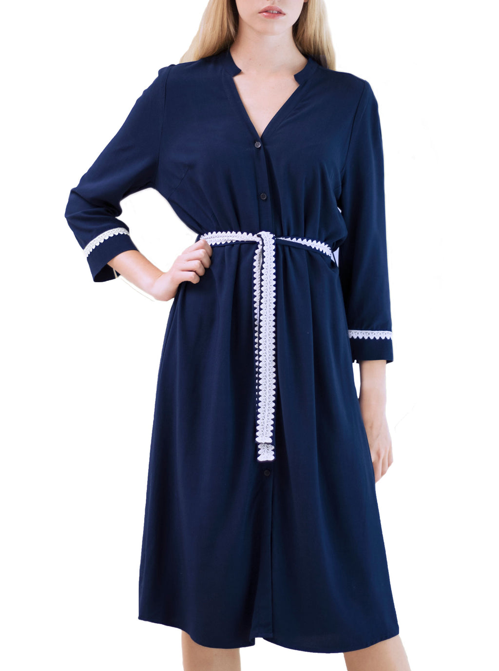 SORGO Navy Blue Bamboo Shirt Dress