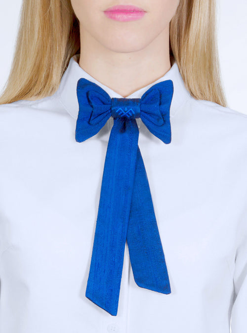TRIIN Raw Silk Blue Bow Tie