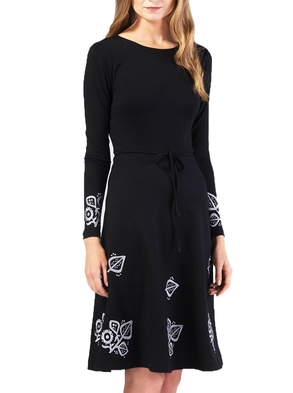 Black Bamboo Embroidered Dress SUSI