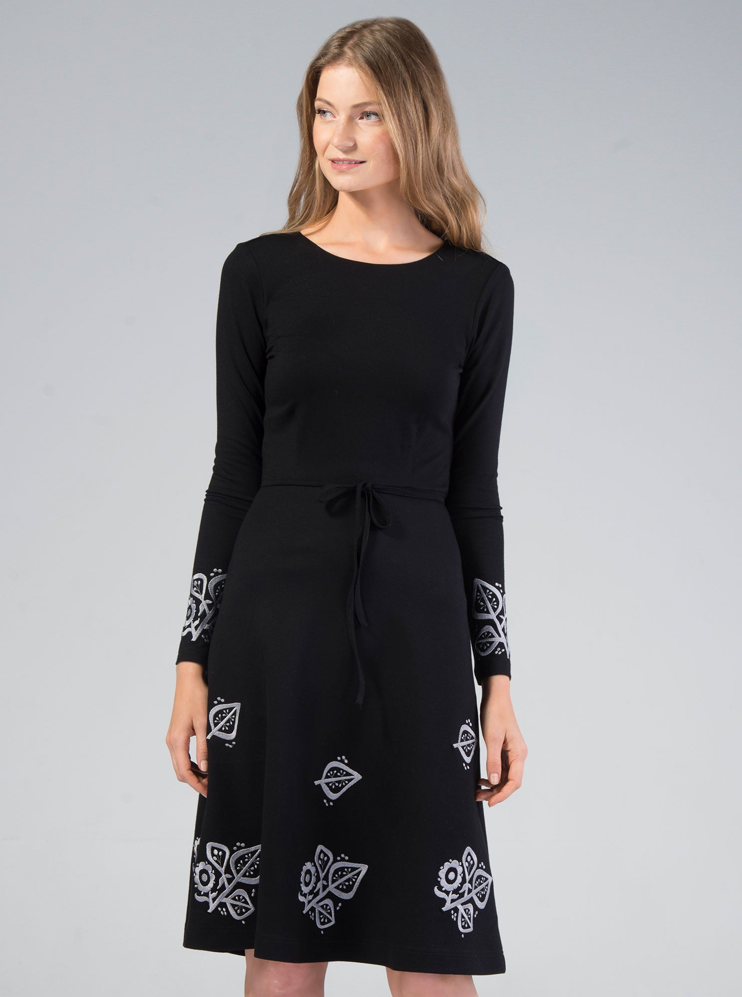 SUSI Bamboo Embroidered Black Dress