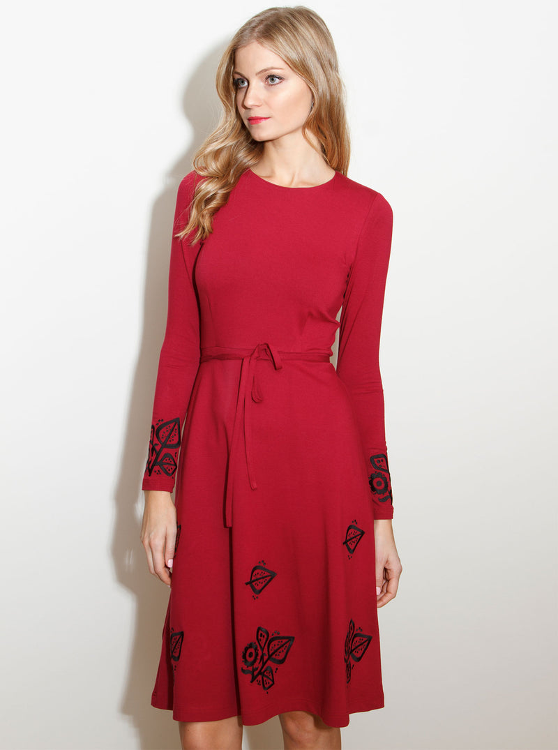 Wine Red Viscose Embroidered Dress SUSI