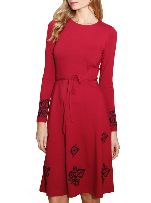 SUSI Embroidered Wine Red Viscose Dress