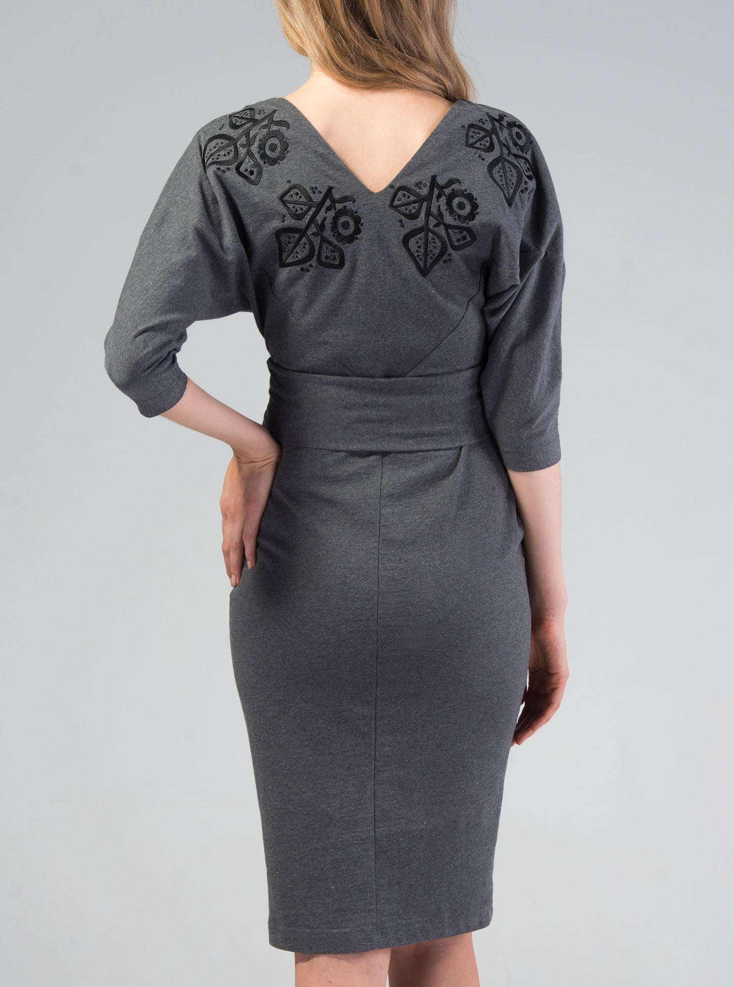 MERIKE Organic Cotton Embroidered Grey Dress