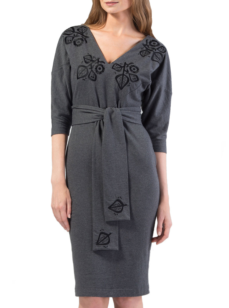 Grey Organic Cotton Embroidered Dress MERIKE