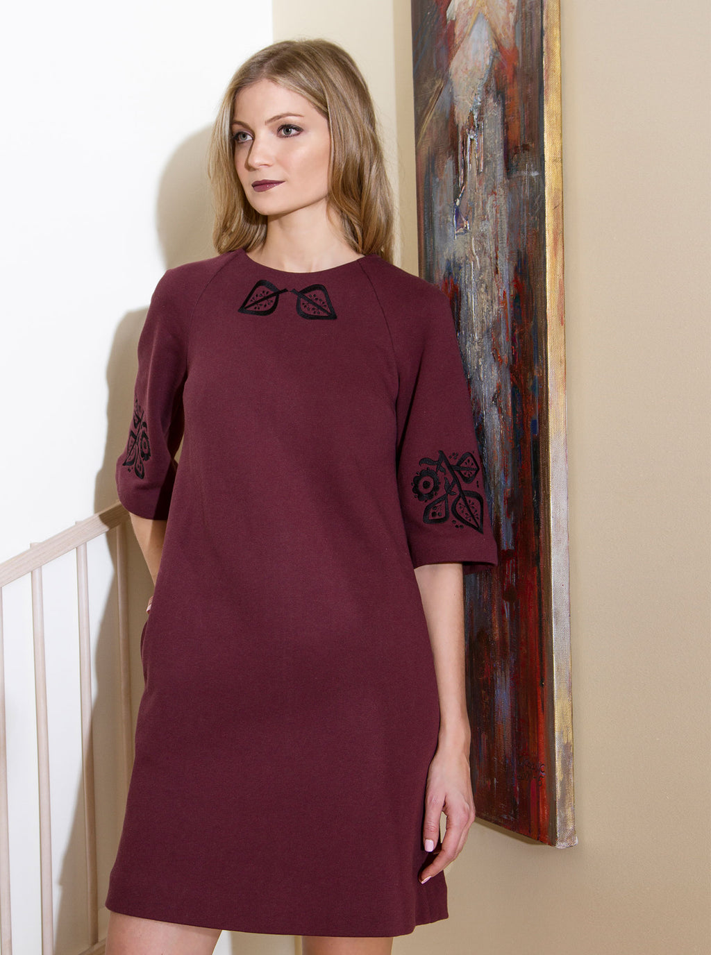 Bordeaux Red Organic Cotton Embroidered Dress PILVI