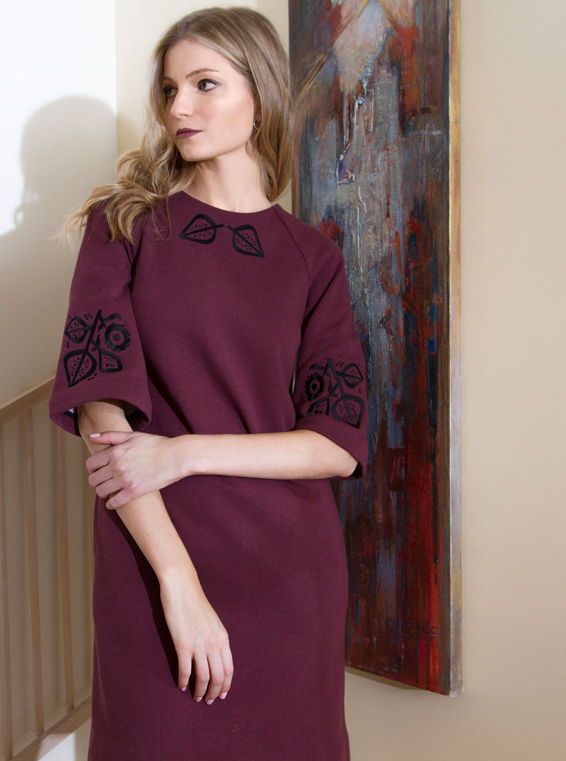 PILVI Bordeaux Red Organic Cotton Embroidered Dress
