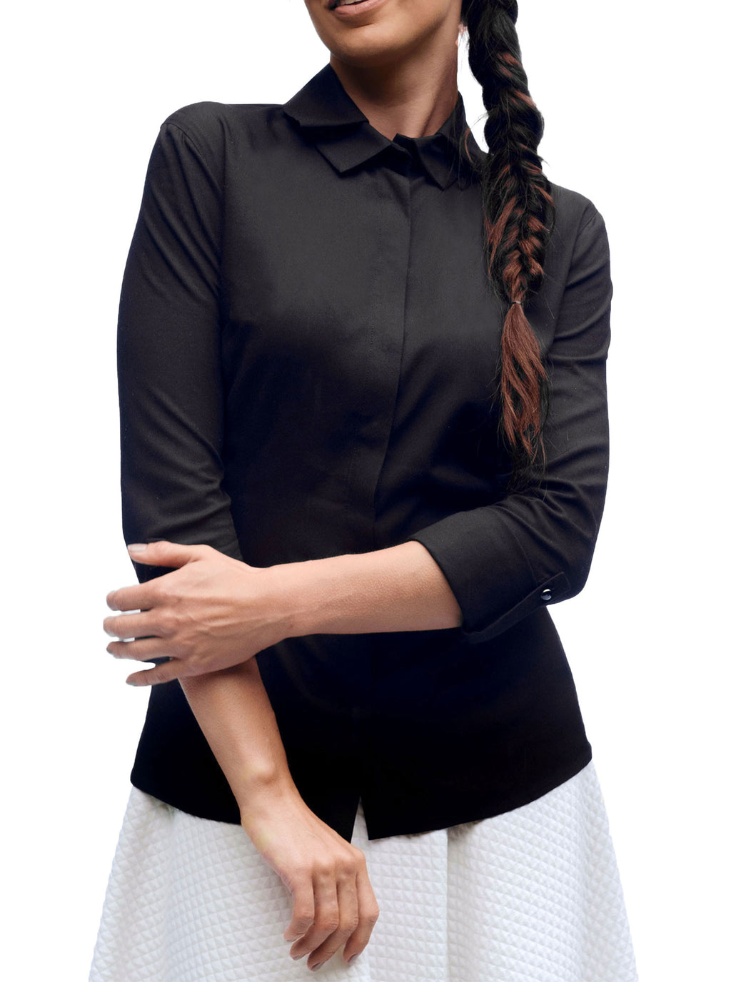 Black Bamboo Shirt with Adjustable Sleeves ODER