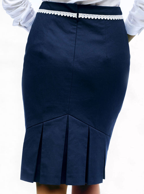 MAIS Organic Cotton Pencil Blue Skirt