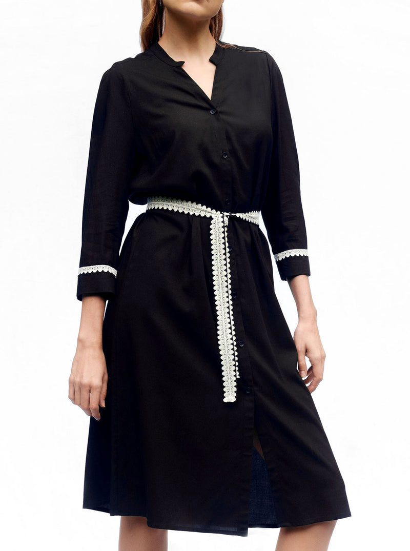 Black Bamboo Shirt Dress SORGO