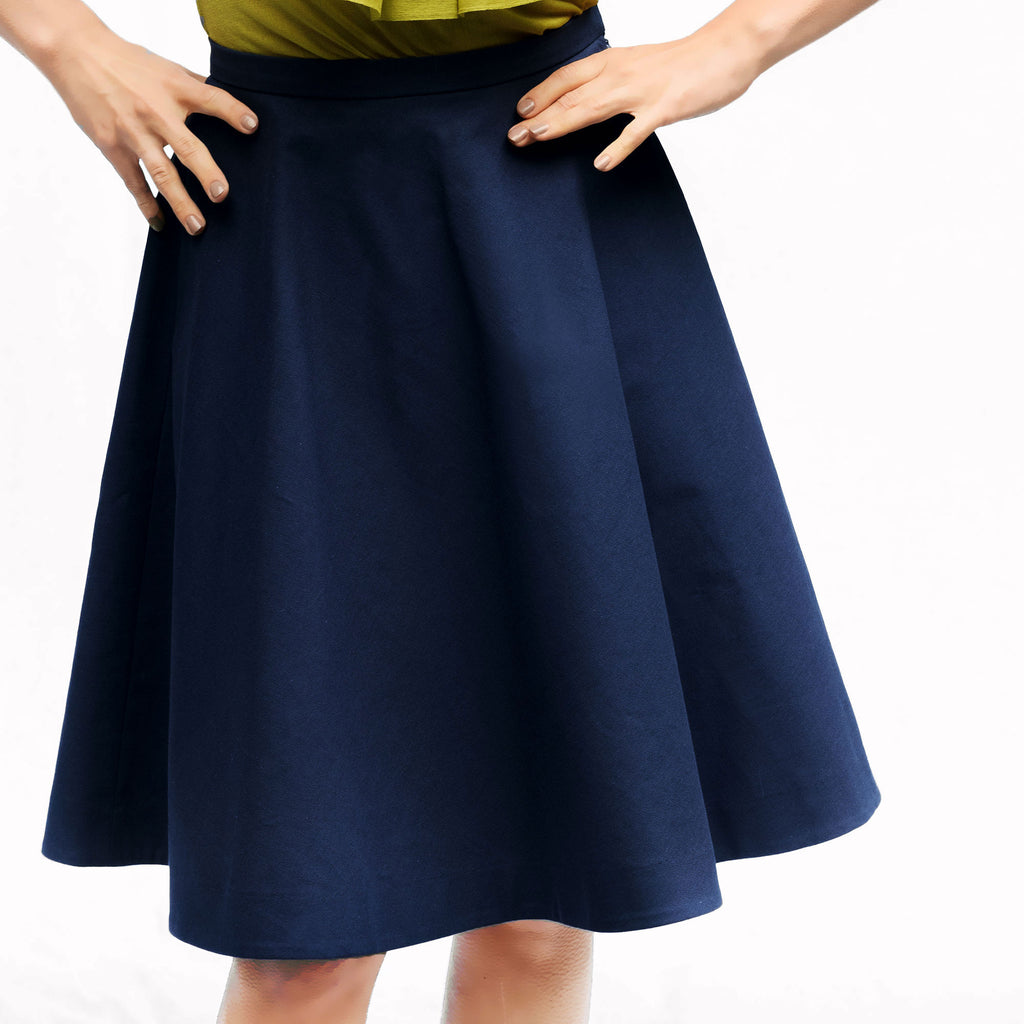 Blue Organic Cotton A-line Skirt RUKIS