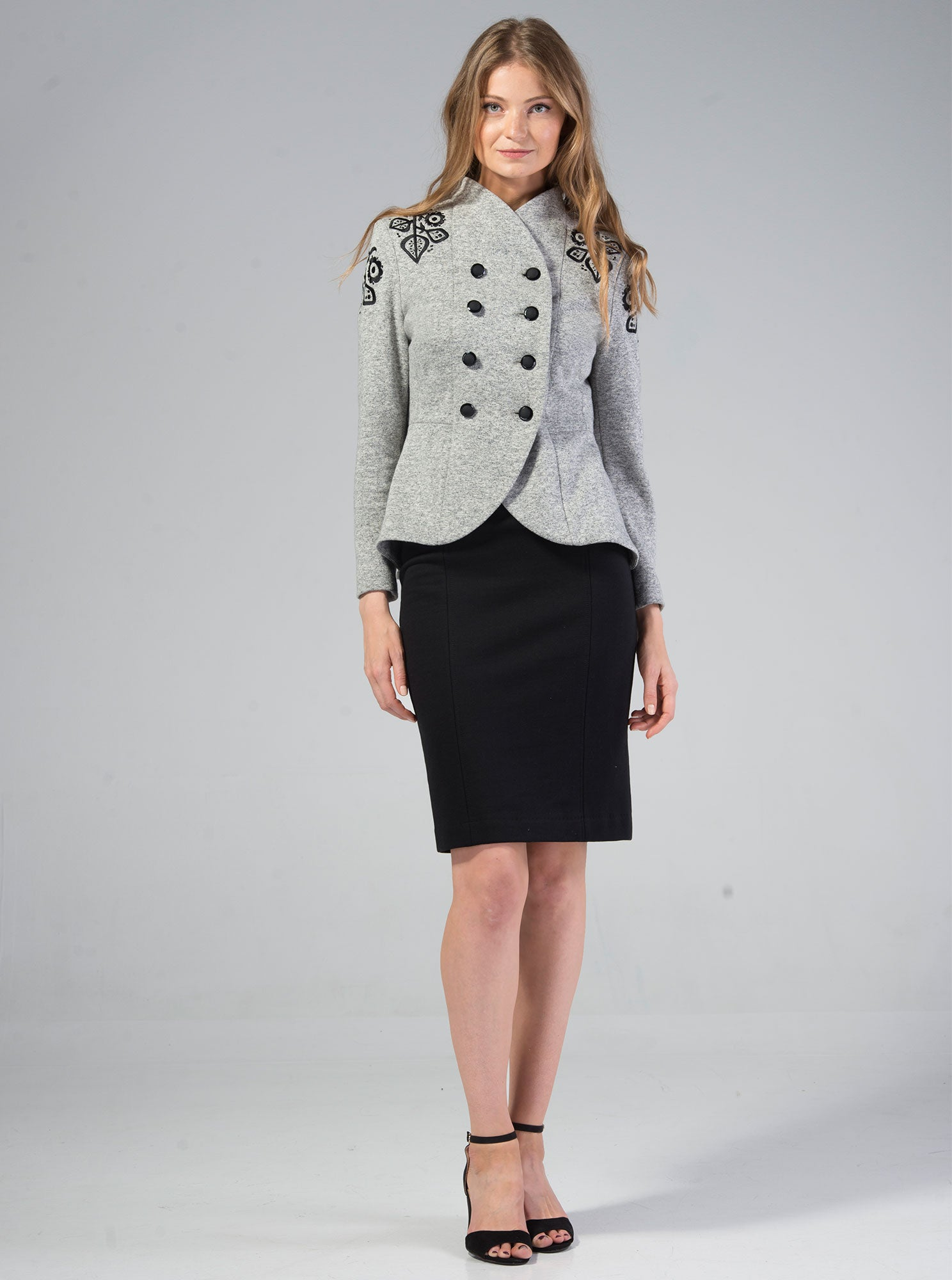 HALLIKE Embroidered Melange Grey Jacket