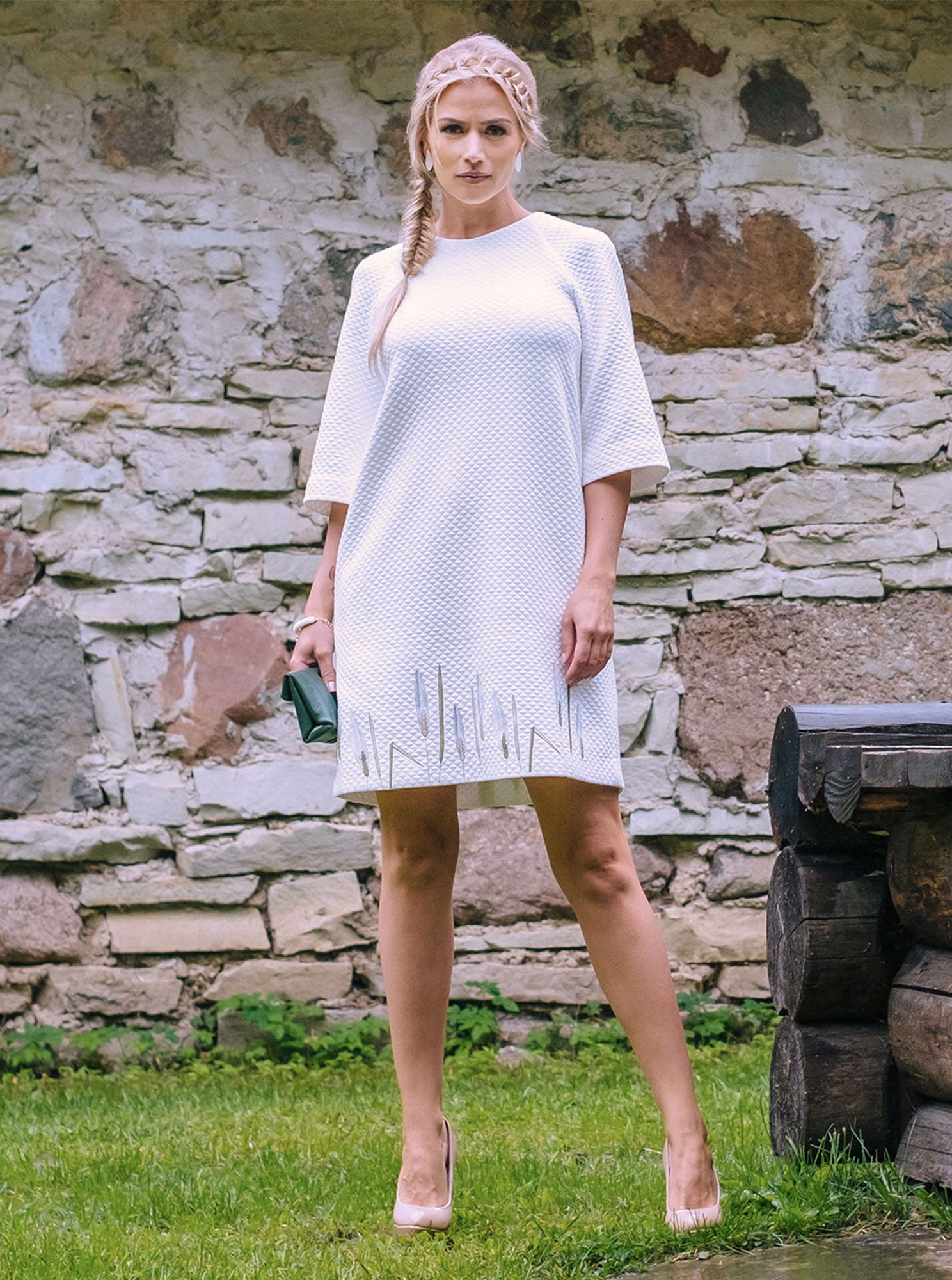 RIIS White Organic Cotton Embroidered Dress