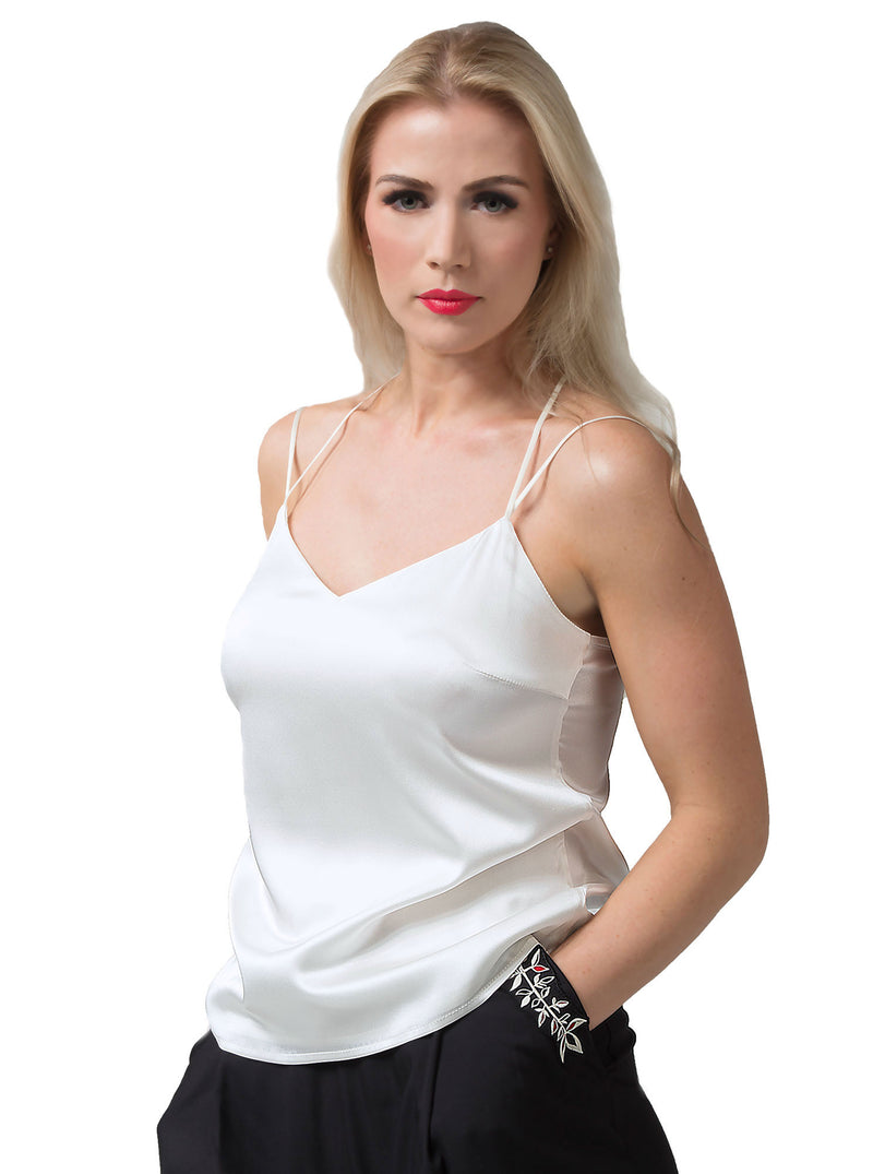 White Organic Silk Cami Top PIRET