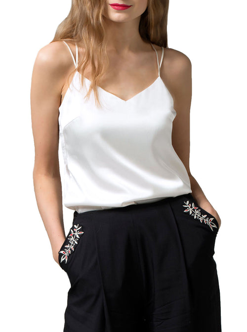 PIRET White Organic Silk Cami Top