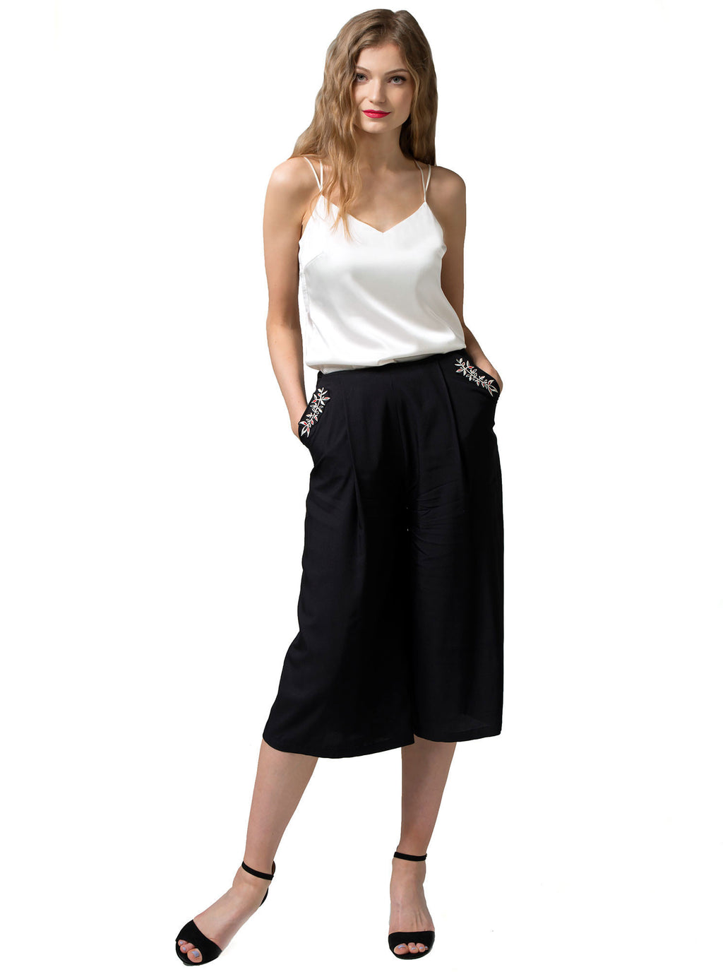 Black Bamboo Culotte Trousers PERIT