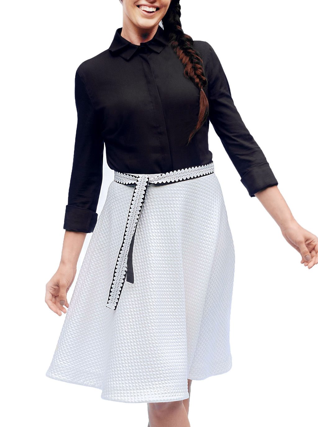 White Organic Cotton A-Skirt RUKIS