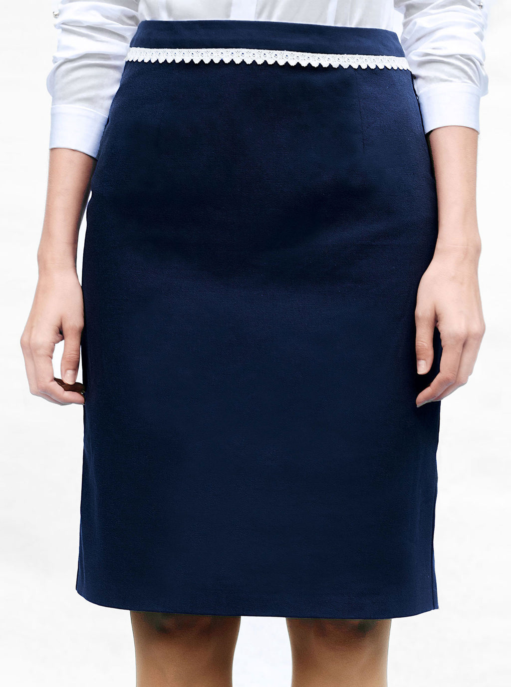 Blue Organic Cotton Pencil Skirt MAIS