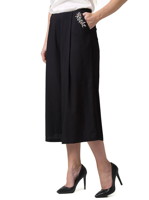 PERIT Bamboo Black Culotte Trousers