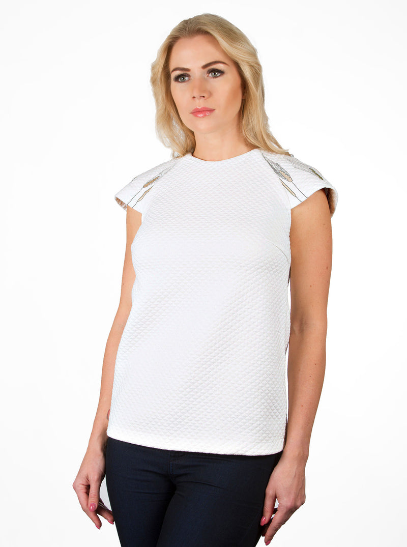 White Organic Cotton Embroidered Blouse VILI