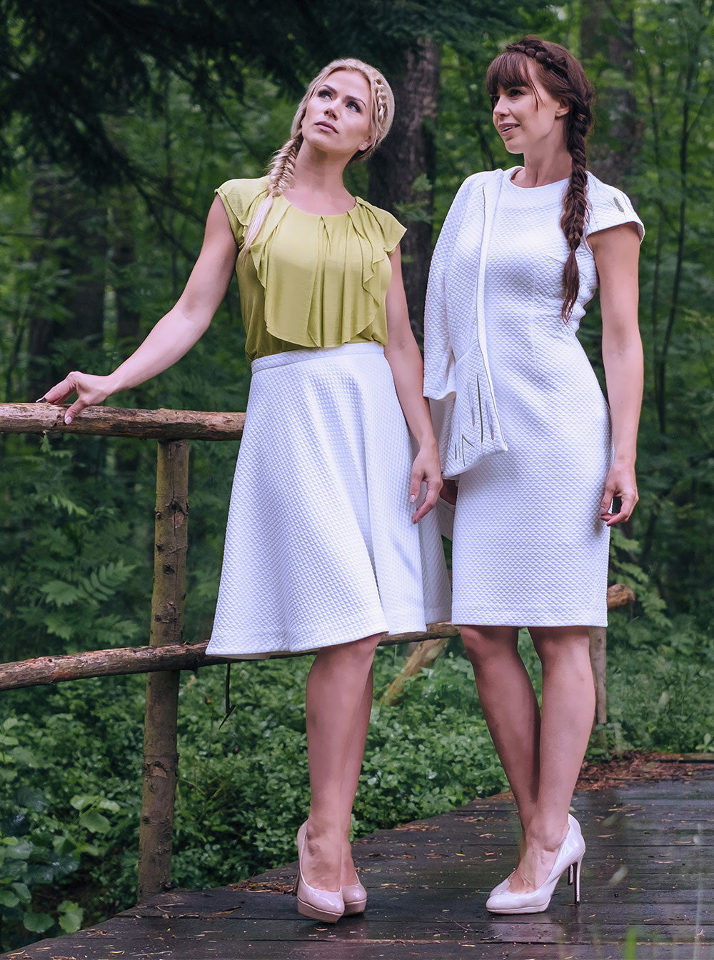 RUKIS Organic Cotton A-line White Skirt